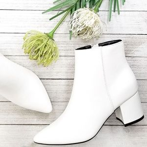 New White Chunky Heel Point Toe Booties Boots